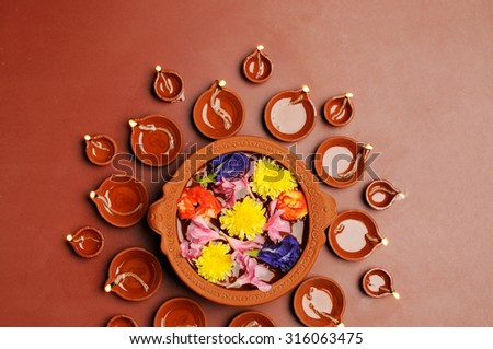 Diwali festival with beautiful lamps  - stock photo