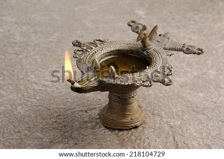 Diwali Lamp, Beautifully Lit Lamps for the Hindu Diwali festival - stock photo