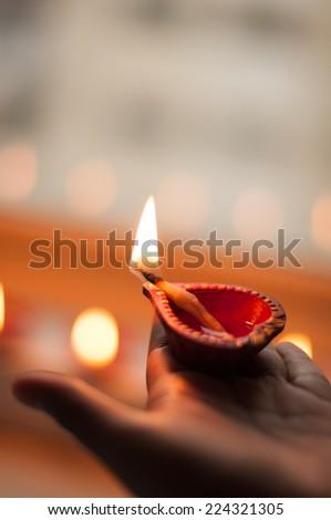 Diwali Light - Diyas - stock photo