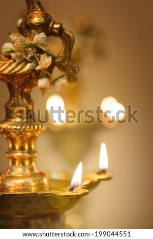 diwali oil lamp during deepavali festival - stock photo