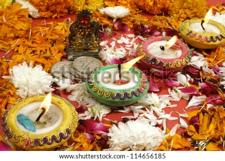 Diwali Prayer Decoration on traditional Indian festival of lights. - stock photo