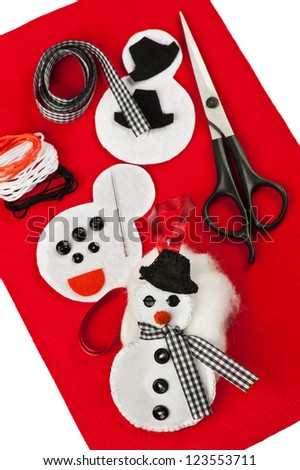 DIY Christmas felt decoration - stock photo