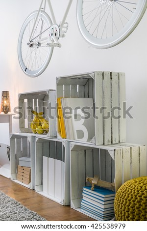 DIY-decorate your home with fruit wooden crates - stock photo