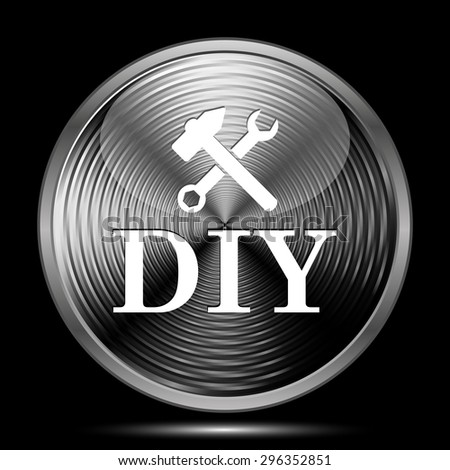 DIY icon. Internet button on black background.  - stock photo
