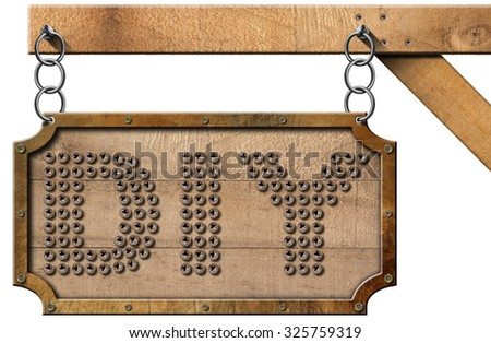 Diy Sign with Chain / Wooden and metallic sign with many screws in the shape of text Diy (Do it yourself). Hanging from a metal chain on a pole and isolated on white background - stock photo