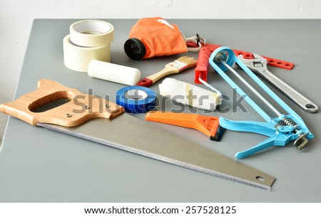 DIY tools on a table - stock photo