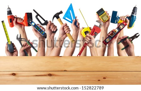 DIY tools set collage. Isolated on white background. - stock photo