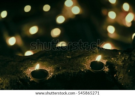 Diyas Oil Lamps Arranged in Shape, Flames, Diwali Festival, India
