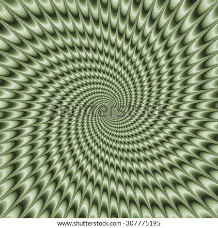Dizzy Swirl in Green / A digital abstract fractal image with a monochrome optically challenging swirl design in pale green. - stock photo