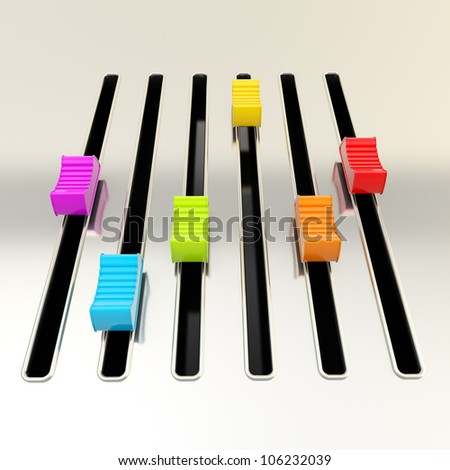 DJ and music: shimy metal mixer panel with rainbow colored sliders - stock photo