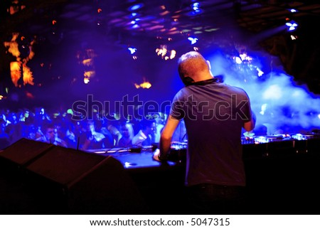 DJ at a club - stock photo