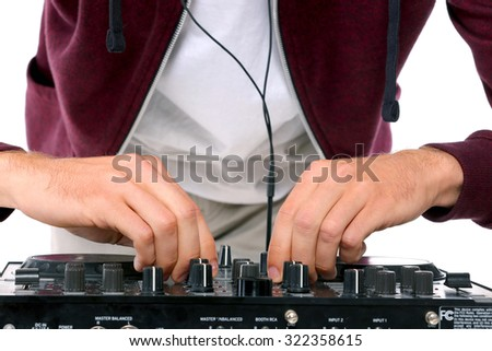 dj at work, isolated with white background - stock photo