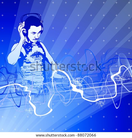 DJ, blue technology background & sound wave. Bitmap copy my vector id 27127606 - stock photo