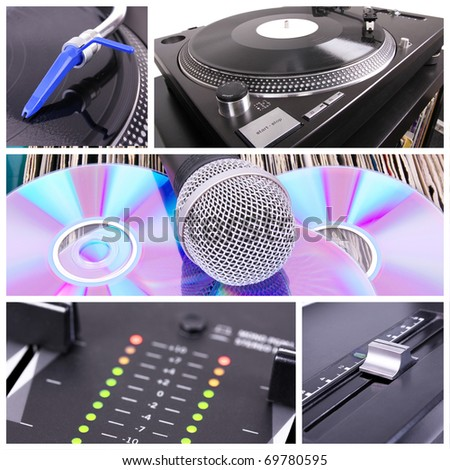 Dj collage. Professional  equipment - stock photo