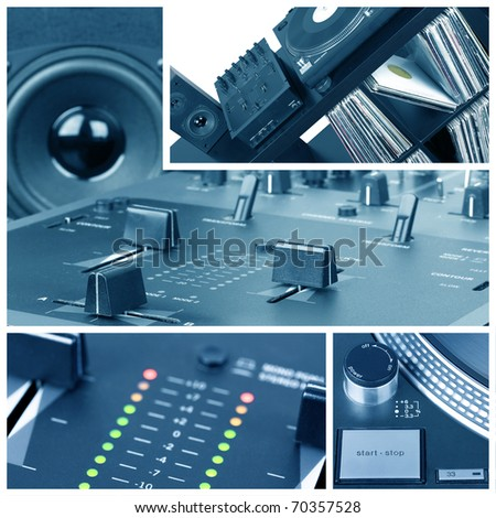 Dj collage. Turntable and mixer parts - stock photo
