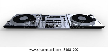 DJ Decks and Mixer isolated on white - stock photo