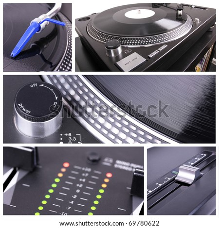 Dj equipment collage, closeup parts - stock photo