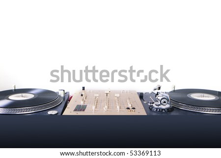dj equipment gramophone and mixer isolated on white - stock photo