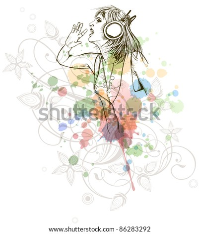 DJ girl & music colors mix - floral calligraphy ornament - a stylized orchid, color paint background. Bitmap copy my vector ID 70601977 - stock photo