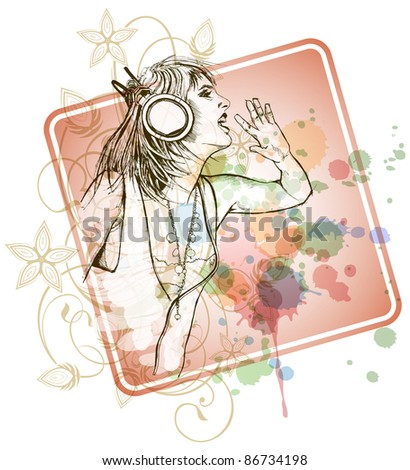 DJ girl & music colors mix - floral calligraphy ornament - a stylized orchid, color paint background. Bitmap copy my vector ID 71330398 - stock photo