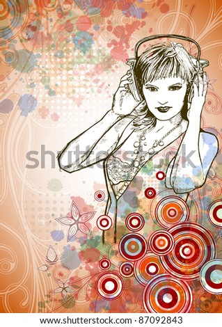DJ girl & music colors mix - floral calligraphy ornament - a stylized orchid, color paint background. Bitmap copy my vector ID 71735860 - stock photo