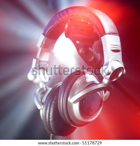 dj headphones - stock photo