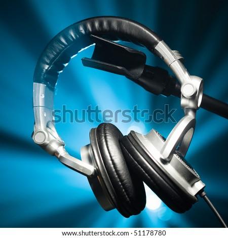dj headphones closeup - stock photo