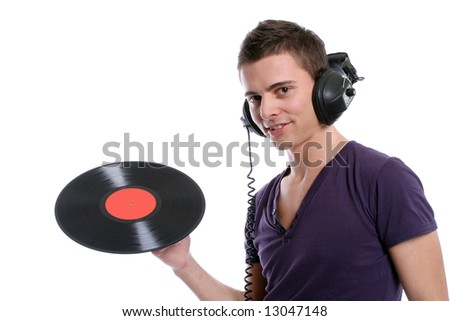 dj in headphones twisting a plate, isolated in white background