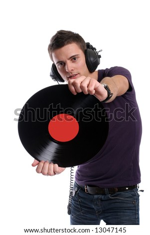 dj in headphones twisting a plate, isolated in white background - focus on the plate - stock photo