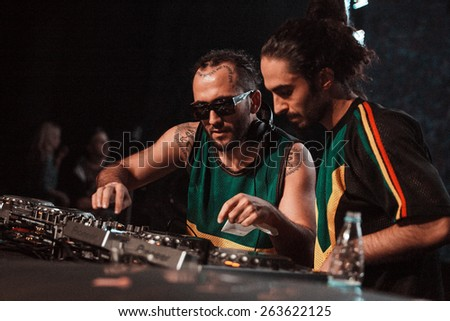 DJ Meg & DJ Nerak performing live at Space Moscow nightclub in Moscow, Russia on 8 February 2015 - stock photo