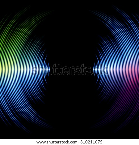 DJ mix cover with music waveform as a vinyl grooves - stock photo