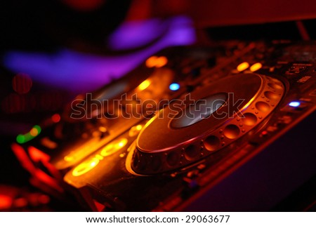 dj mixer in a music club - stock photo