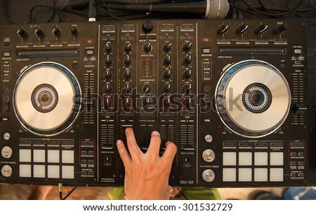 DJ mixer top angle - stock photo