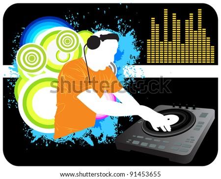DJ Mixing Background - stock photo