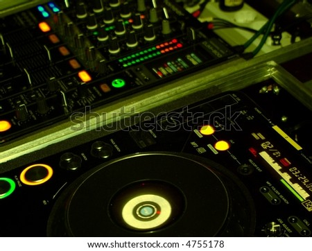 DJ mixing console - stock photo