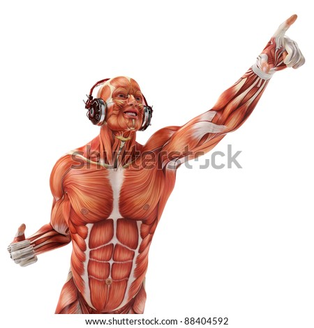 dj muscle man pointing to the sky - stock photo