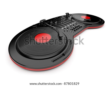 DJ music mixer control with  vinyl disc 3D. Isolated on white - stock photo