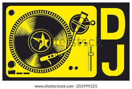 DJ music turntable (DJ gramophone, Dj mixer, turntable dj player) - stock photo