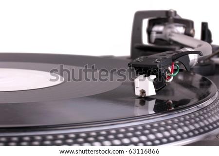 Dj needle on turntable, closed-up on white - stock photo