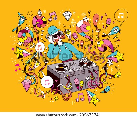 DJ playing mixing music on vinyl turntable cartoon illustration - stock photo