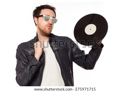 Dj posing with vinyl on white background