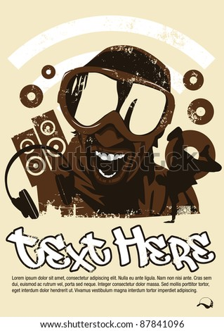 DJ poster - stock photo