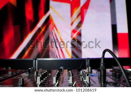DJ's equipment background - stock photo