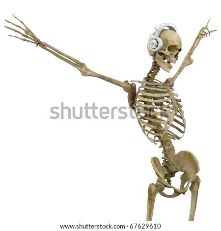 dj skeleton in freedom - stock photo