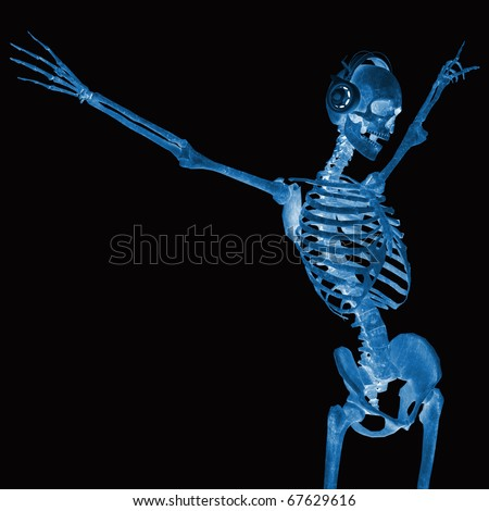 dj skeleton in freedom x-ray - stock photo