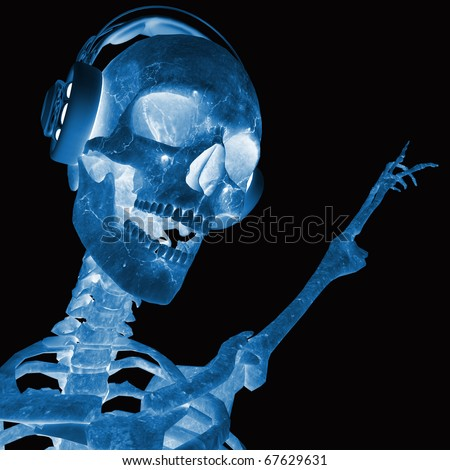 dj skeleton in pointing up x-ray