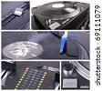 Dj table collage. Turntable and mixer closedup parts - stock photo