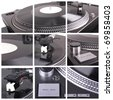Dj tools collage. Closeup parts of turntable - stock photo