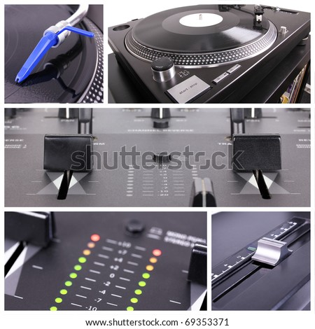 Dj tools collage. Mixer and turntable parts - stock photo