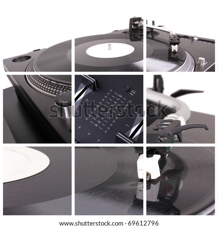 Dj turntable collage. Closeup parts of turntable - stock photo